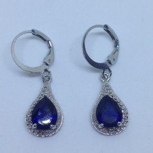 s925 silver dark blue sapphire simulant earrings